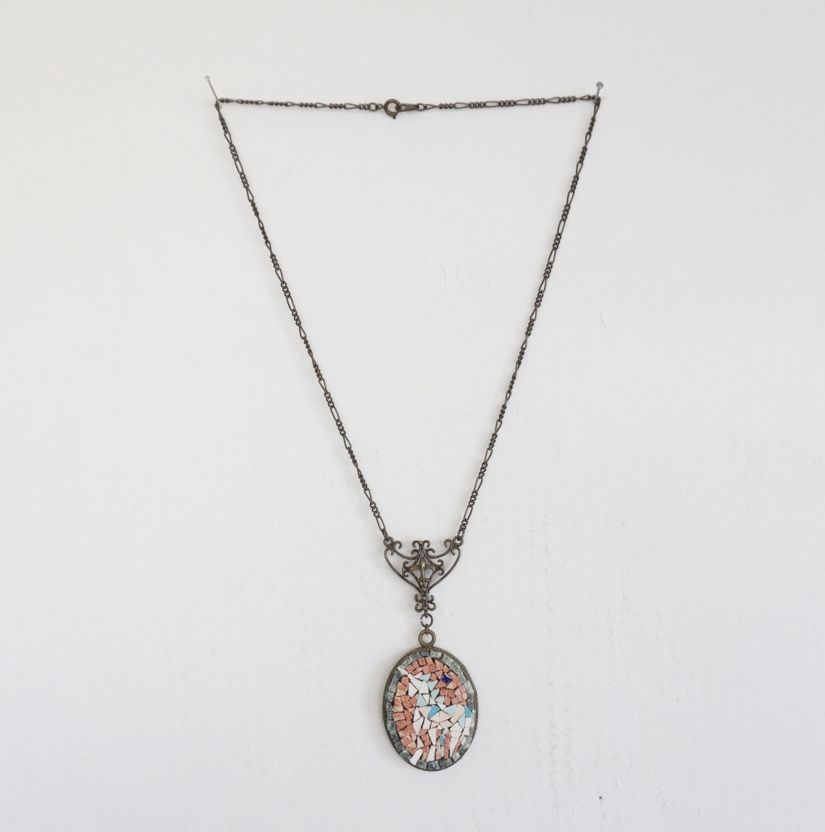 ①Mable mosaic Nacklace.Antiquestyle.JPG